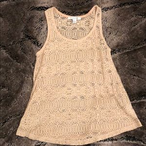 Forever 21 Beige See-Through Lace Tank Top